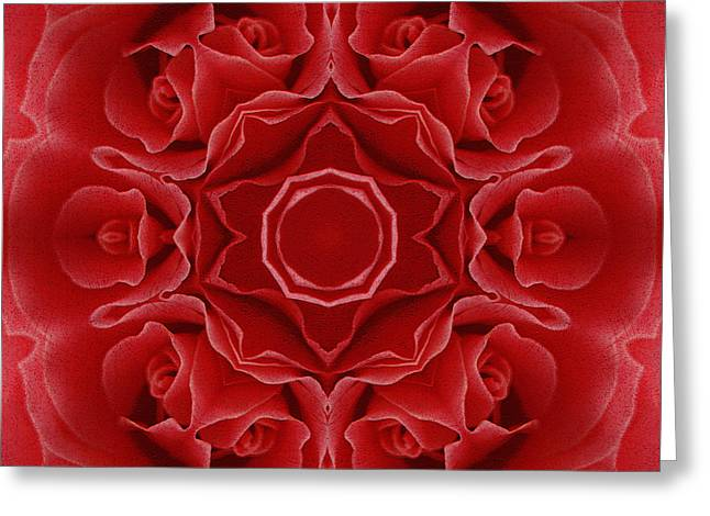 Cadeau Greeting Cards - Imperial Red Rose Mandala Greeting Card by Georgiana Romanovna