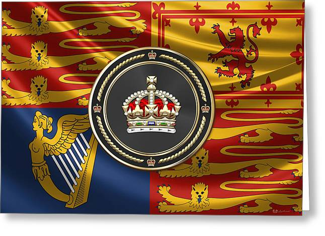 Imperial Tudor Crown Over Royal Standard Of The United Kingdom Greeting Card by Serge Averbukh