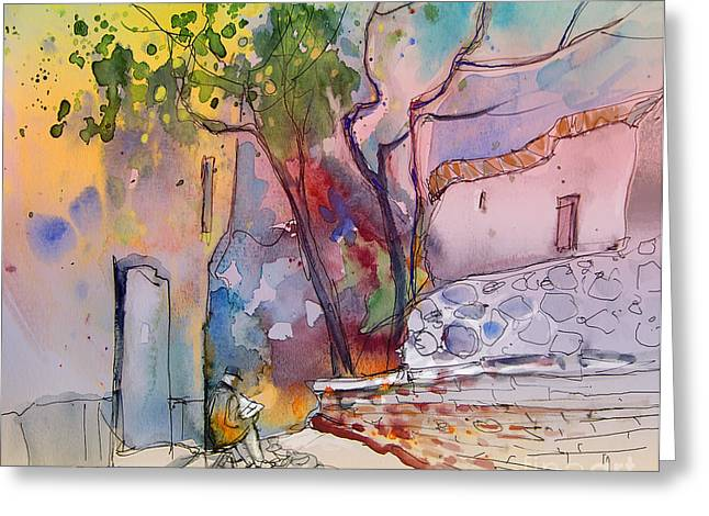 Travel Sketch Drawings Greeting Cards - Impression de Trevelez Sierra Nevada 02 Greeting Card by Miki De Goodaboom