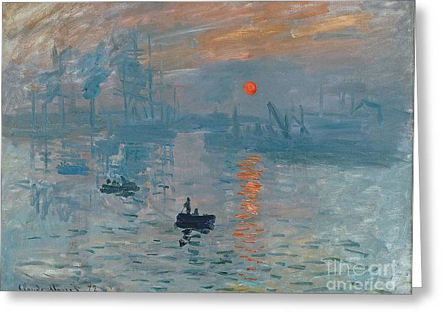Water Vessels Greeting Cards - Impression Sunrise Greeting Card by Claude Monet
