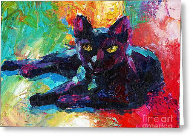 Whimsical. Greeting Cards - Impressionistic Black Cat painting 2 Greeting Card by Svetlana Novikova