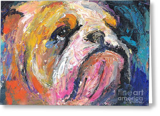 Abstract Drawings Greeting Cards - Impressionistic Bulldog painting Greeting Card by Svetlana Novikova