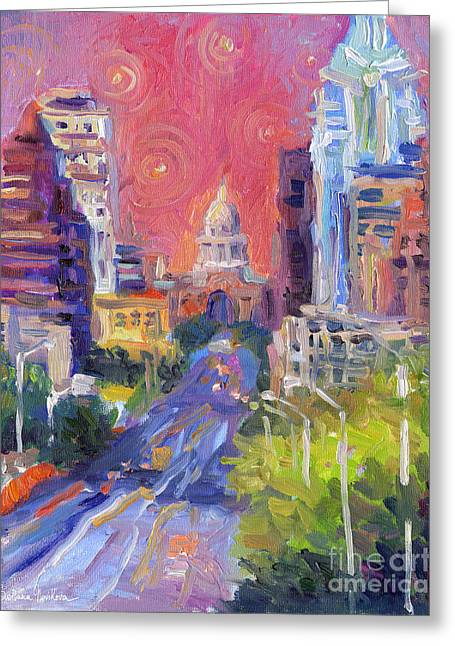 Frame Drawings Greeting Cards - Impressionistic Downtown Austin city painting Greeting Card by Svetlana Novikova