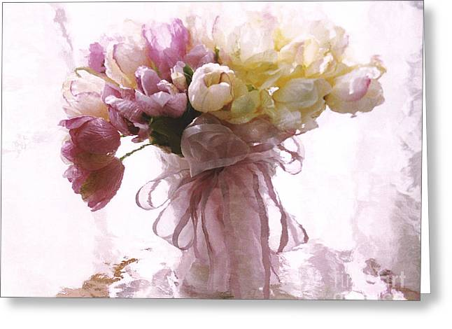 Pink Flower Prints Greeting Cards - Impressionistic Floral Fine Art - Dreamy Pink Yellow Tulips Impressionistic Romantic Floral Art Greeting Card by Kathy Fornal