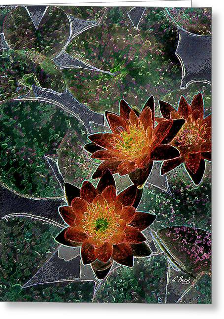 Lilly Pad Greeting Cards - Impressionistic Lilies Greeting Card by Gordon Beck