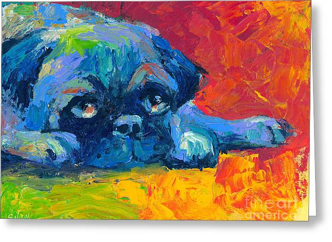Impressionistic Dog Art Greeting Cards - impressionistic Pug painting Greeting Card by Svetlana Novikova