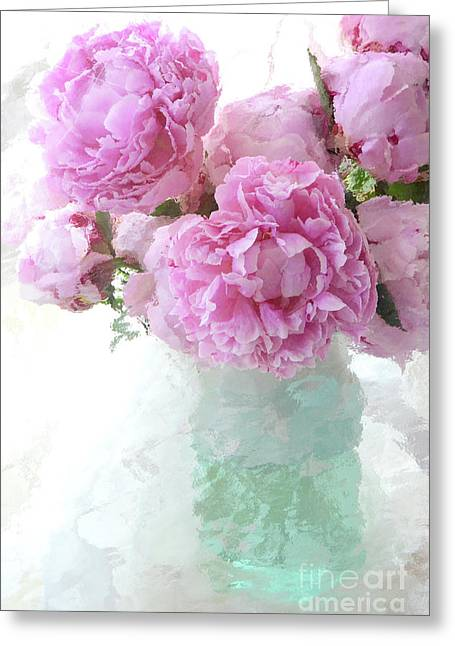 Impressionistic Romantic Pink Peonies Aqua Vase French Impressionism - Romantic Shabby Chic Peonies Greeting Card by Kathy Fornal