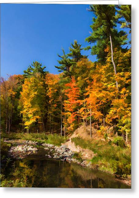 Stream Digital Greeting Cards - Impressions of Forests - Autumn on the Riverbank Greeting Card by Georgia Mizuleva