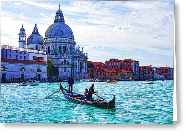 Impressions Of Venice Italy - Traghetto Crossing The Grand Canal Greeting Card by Georgia Mizuleva