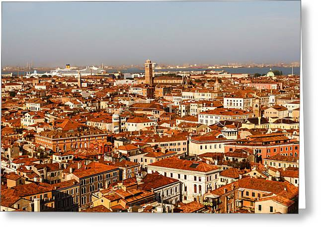 Sailing Ship Greeting Cards - Impressions of Venice - Red Roofs and Cruise Ships Greeting Card by Georgia Mizuleva
