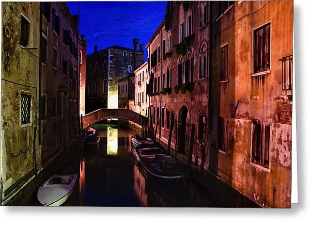 Gloaming Greeting Cards - Impressions of Venice - Wandering Around the Small Canals at Night Greeting Card by Georgia Mizuleva