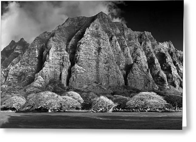 Black And White Mountain Prints Greeting Cards - Impressive Ridge Greeting Card by Sean Davey