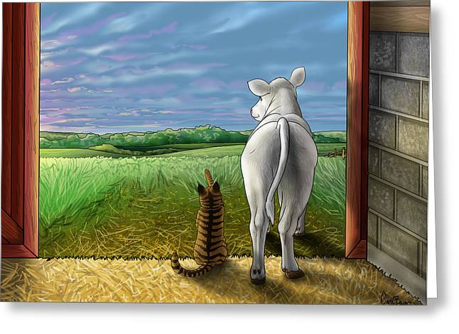 Barn Dance Greeting Cards - Improbable-Here comes the Sun Greeting Card by Cara Bevan