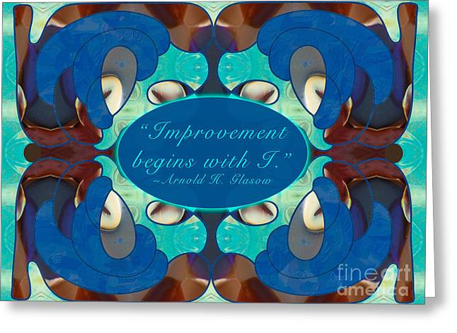 Blue Grapes Drawings Greeting Cards - Improvement Abstract Art by Omashte Greeting Card by Omaste Witkowski