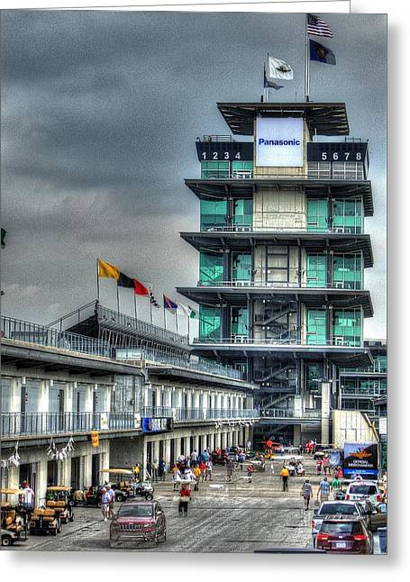 Indy Car Greeting Cards - IMS Control Tower Greeting Card by Jonathan Williams