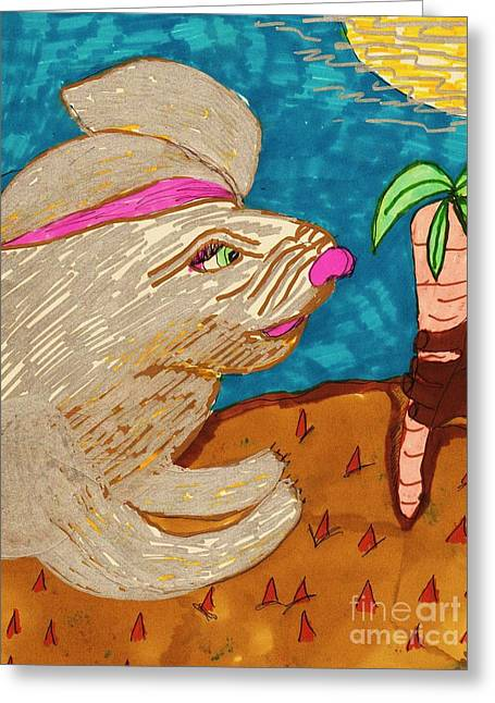 Fed Mixed Media Greeting Cards - In a Carrot Field Greeting Card by Elinor Rakowski