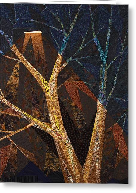 Night Lamp Tapestries - Textiles Greeting Cards - In A Different Light Greeting Card by Linda Beach