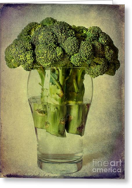 Broccoli Greeting Cards - In a glass Greeting Card by Barbara Corvino