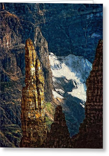 Mountain Valley Greeting Cards - In a High Place impasto Greeting Card by Steve Harrington