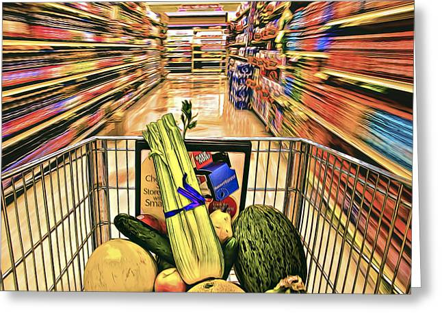Grocery Store Greeting Cards - In a Hurry Greeting Card by Maria Coulson