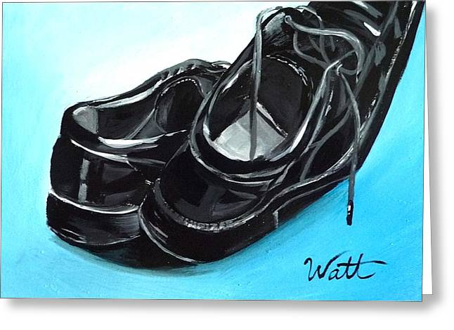 Mens Shoe Greeting Cards - In a Hurry Greeting Card by Tammy Watt