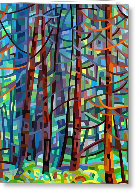Recently Sold -  - Blue Abstracts Greeting Cards - In a Pine Forest Greeting Card by Mandy Budan