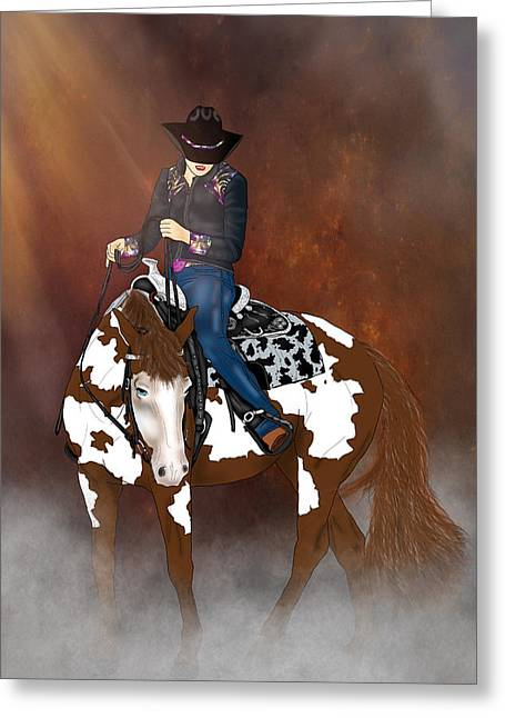 In A Western Town Greeting Card by Davandra Cribbie