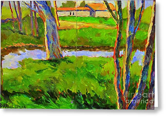 Early Spring Paintings Greeting Cards - In a Wood with a Creek Greeting Card by Charlie Spear