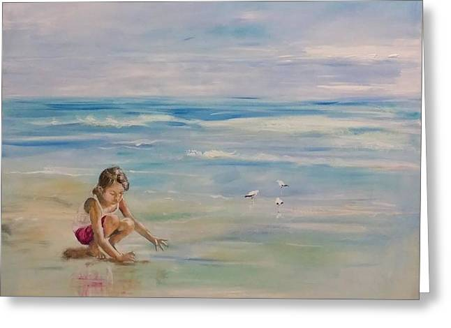 On The Beach Greeting Cards - In a world of her own Greeting Card by Almeta LENNON