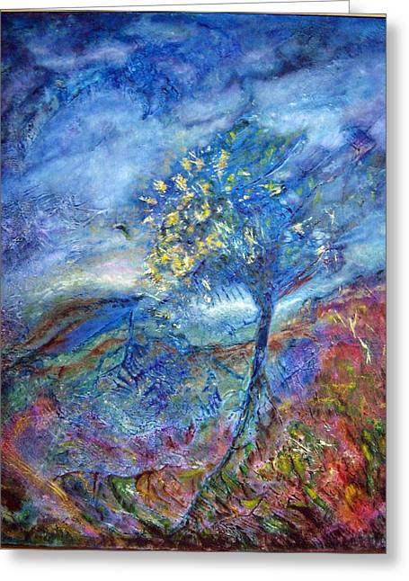 The Trees Tapestries - Textiles Greeting Cards - In Blue Greeting Card by Kathie Warren