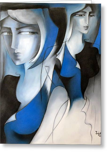 Creative People Greeting Cards - In Blue Greeting Card by Sajida Hussain