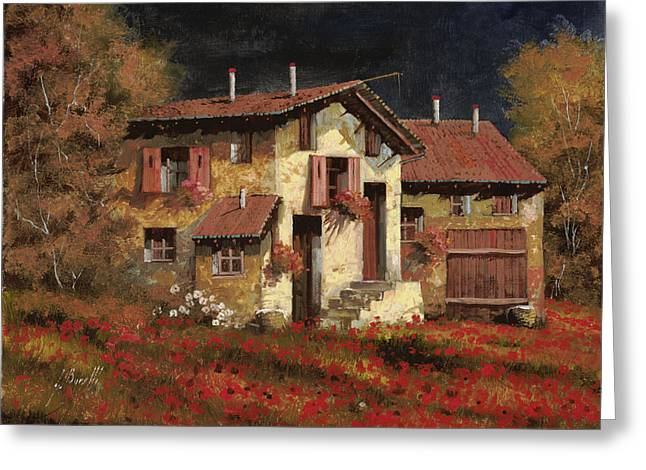 Light Greeting Cards - In Campagna La Sera Greeting Card by Guido Borelli
