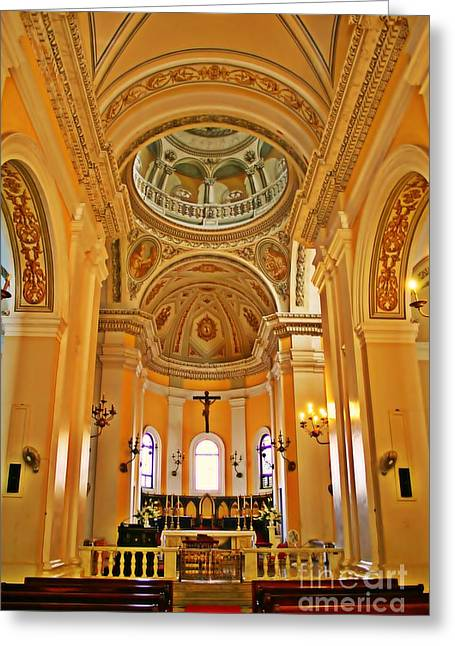 Altar Art Picture Greeting Cards - In Church Greeting Card by Perry Webster