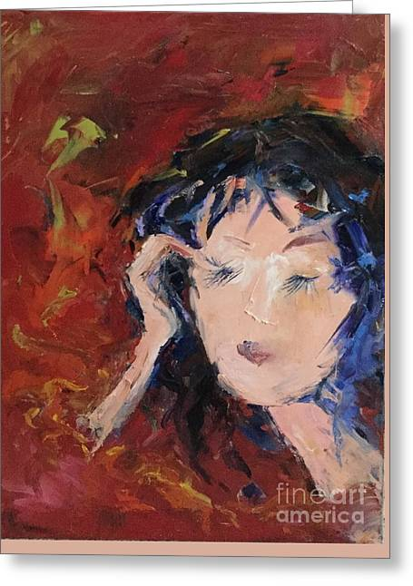 In Curly Thoughts Greeting Card by Dorota Zukowska