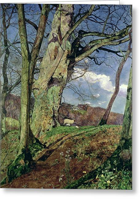 British Greeting Cards - In Early Spring Greeting Card by John William Inchbold