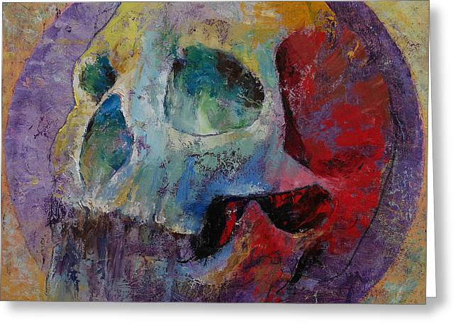 Multi Colored Paintings Greeting Cards - Vintage Skull Greeting Card by Michael Creese