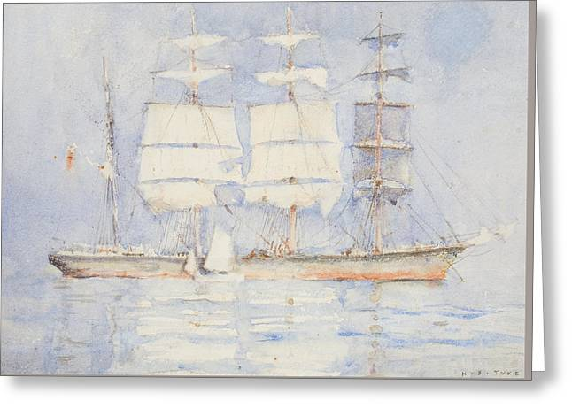 In Falmouth Bay Greeting Card by Henry Scott Tuke