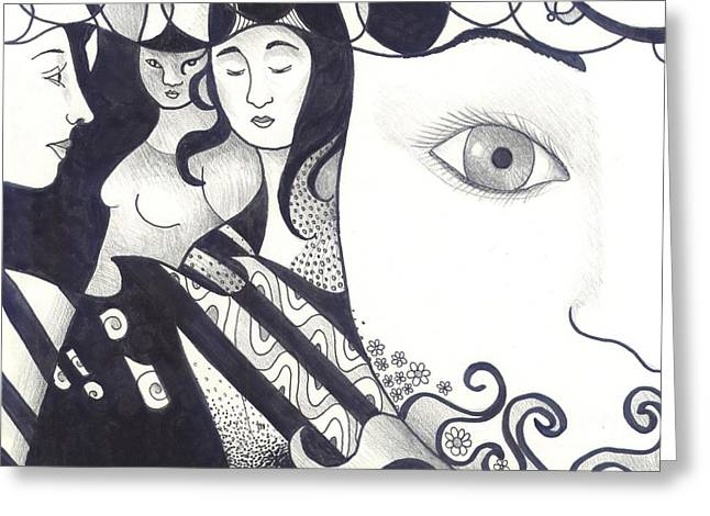 We Are All One Drawings Greeting Cards - In Feminine Form Part 2 Greeting Card by Helena Tiainen