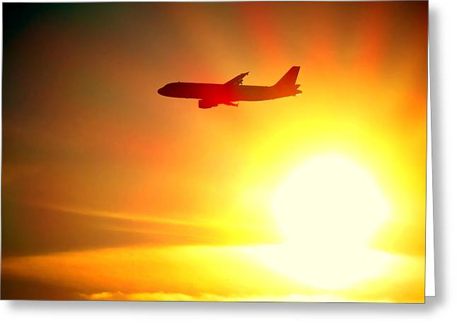In Flight Greeting Card by Olivier Le Queinec