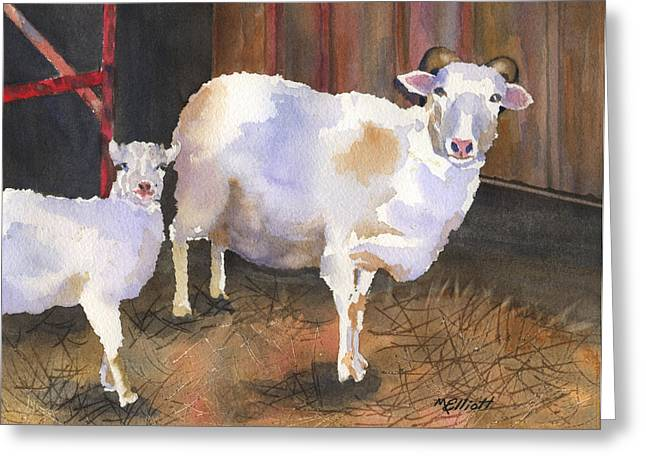 Lambs Greeting Cards - In For the Night Greeting Card by Marsha Elliott