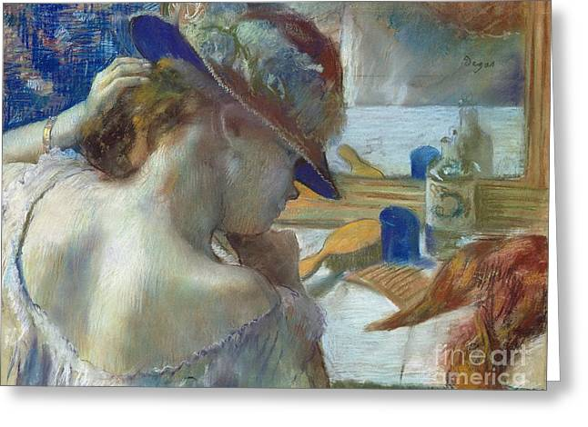 Degas Edgar 1834-1917 Greeting Cards - In Front of the Mirror Greeting Card by Edgar Degas