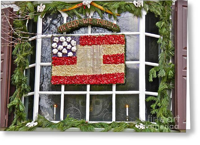 Colonial Flag Greeting Cards - In God We Trust Greeting Card by E Robert Dee