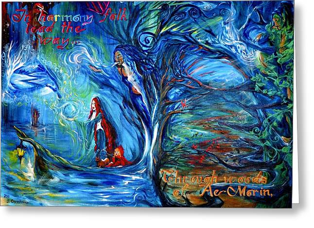 Sacred Grove Greeting Cards - In Harmony Folk Lead the Way... Greeting Card by Jennifer Christenson