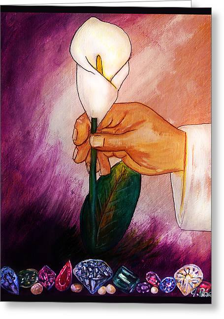 In His Hand Greeting Card by Jennifer Page