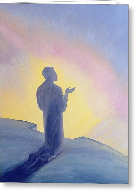 Worship God Paintings Greeting Cards - In His life on earth Jesus prayed to His Father with praise and thanks Greeting Card by Elizabeth Wang