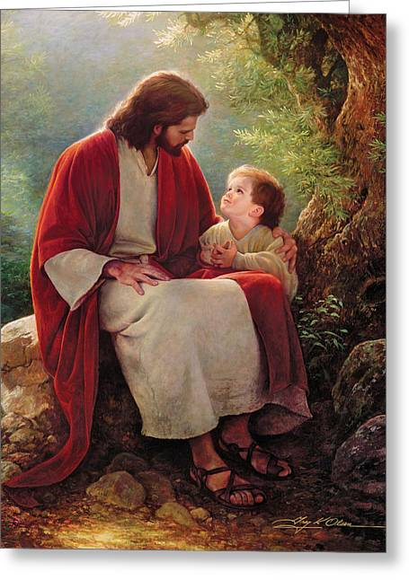 At Greeting Cards - In His Light Greeting Card by Greg Olsen