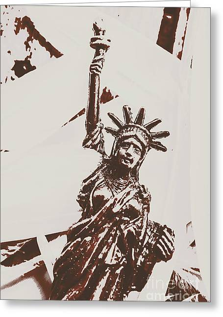 In Liberty Of New York Greeting Card by Jorgo Photography - Wall Art Gallery