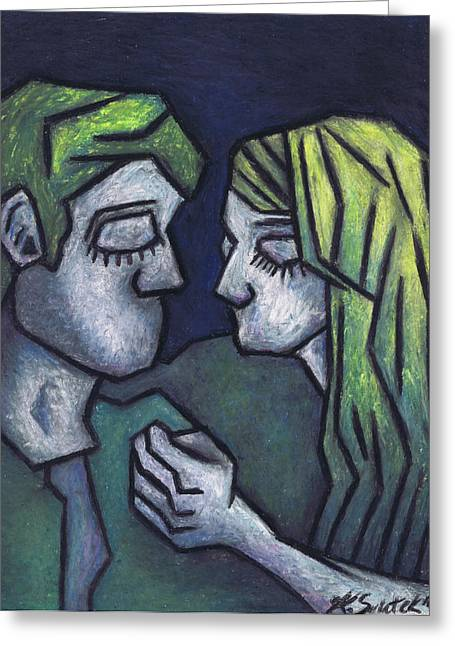 Lovers Art On Print Greeting Cards - In Love Greeting Card by Kamil Swiatek