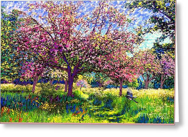 Flowers Paintings Greeting Cards - In Love with Spring Greeting Card by Jane Small