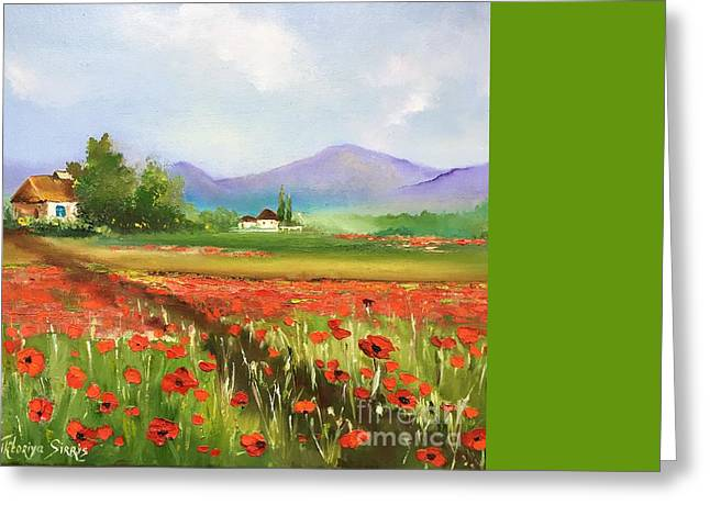 In Love With Toscana's Poppies Greeting Card by Viktoriya Sirris